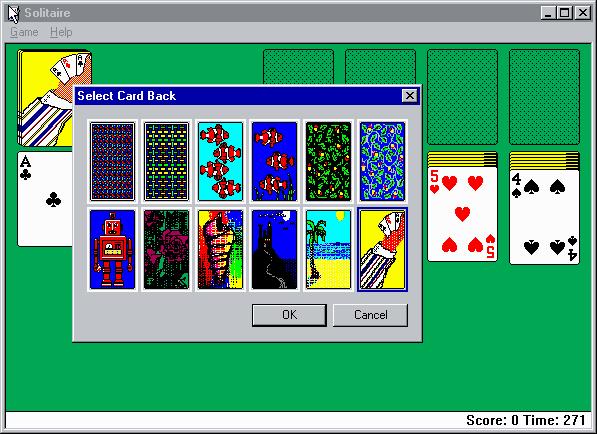Vůbec první verze Solitaire z Windows 95.